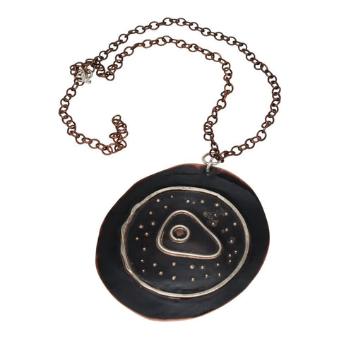 Navy Blue Copper Lady Pendant Necklace