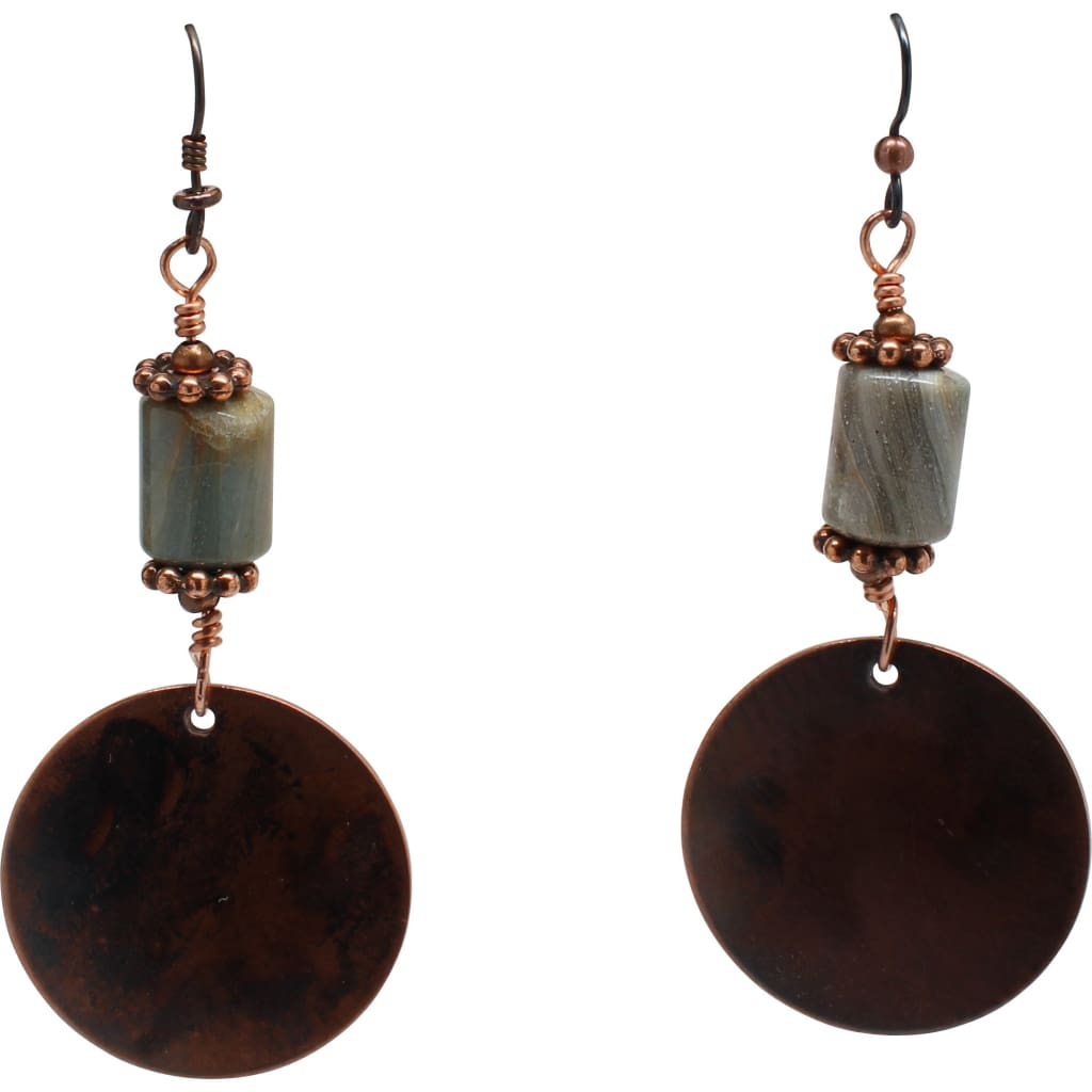 Jasper and Copper Disc Earrings Earrings