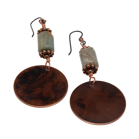 Jupiter Jasper and Copper Teardrop Earrings