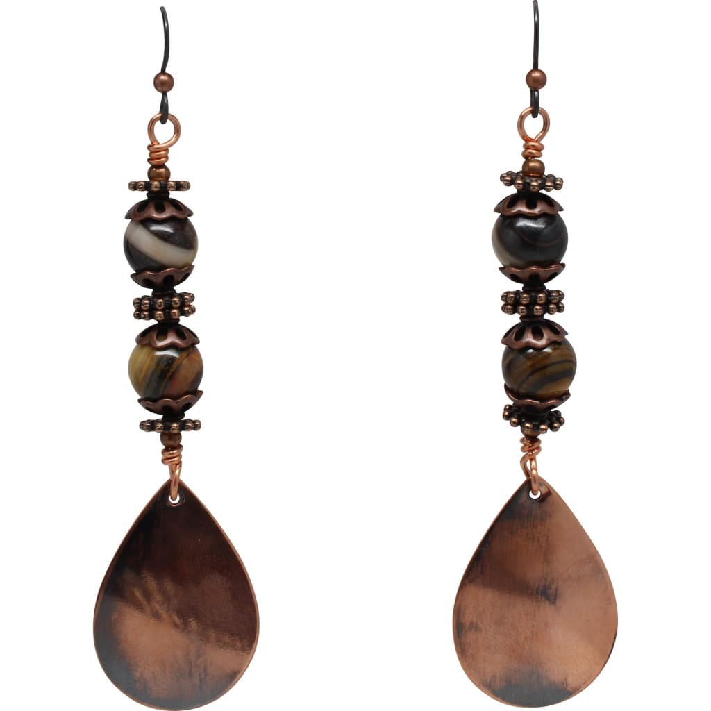 Jupiter Jasper and Copper Teardrop Earrings Earrings