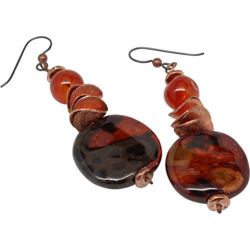 Kazuri And Carnelian Simple Dangle Earrings Earrings