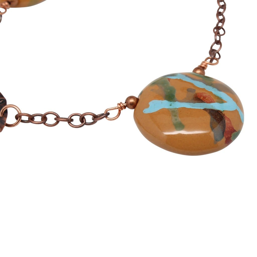 Kazuri And Molded Copper Statement Collar Necklace Necklaces
