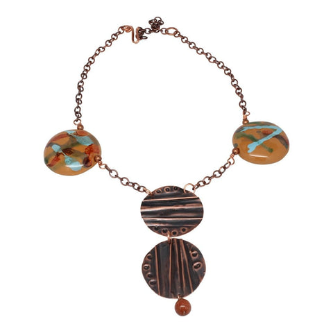 Amber Lady Pendant Copper Statement Necklace
