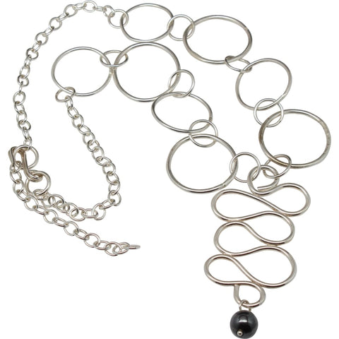Argentium Silver Long Statement Necklace
