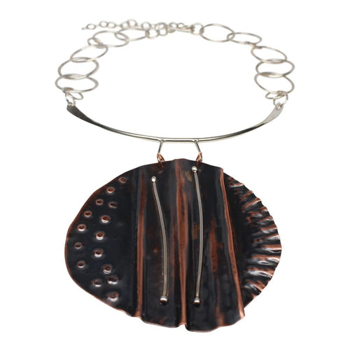 Molded Copper And Argentium Silver Statement Necklace Necklaces