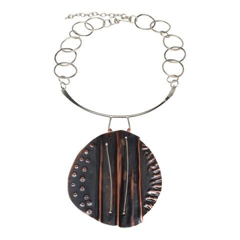 Copper and Silver Stripes Drama Cuff