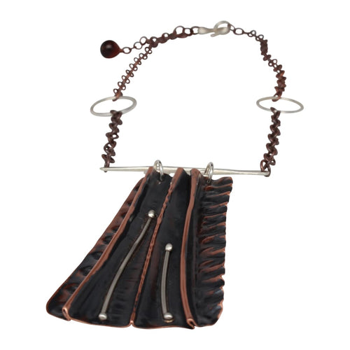 Molded Copper And Silver Statement Necklace Necklaces