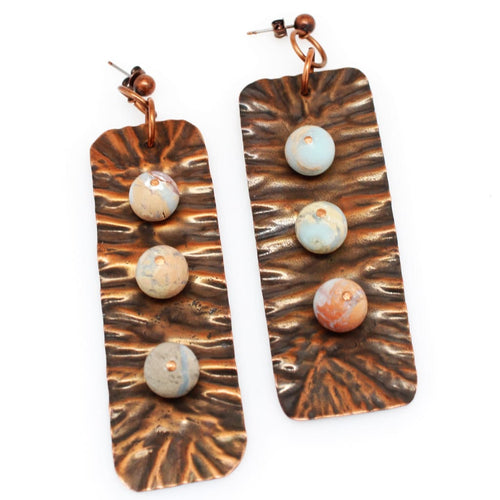 Molded Copper And Snakeskin Jasper Statement Earrings Earrings