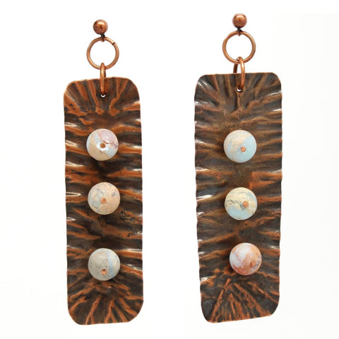 Sassy Sea Glass and Copper Teardrop Earrings