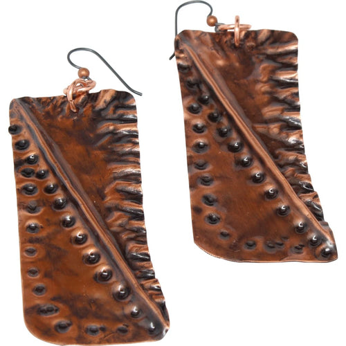 Molded Copper Statement Earrings Earrings