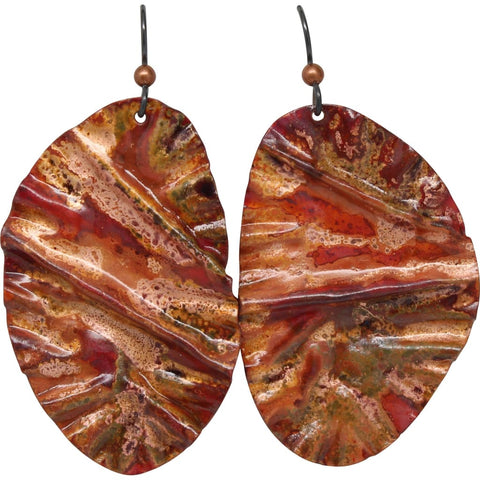 Ruffled Copper and Frosted Agate Dangle Earrings