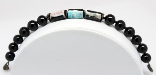 Natural Black Onyx Gemstone Beaded Stackable Bracelet Bracelets