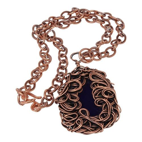 Navy Blue Copper Lady Pendant Necklace Necklaces
