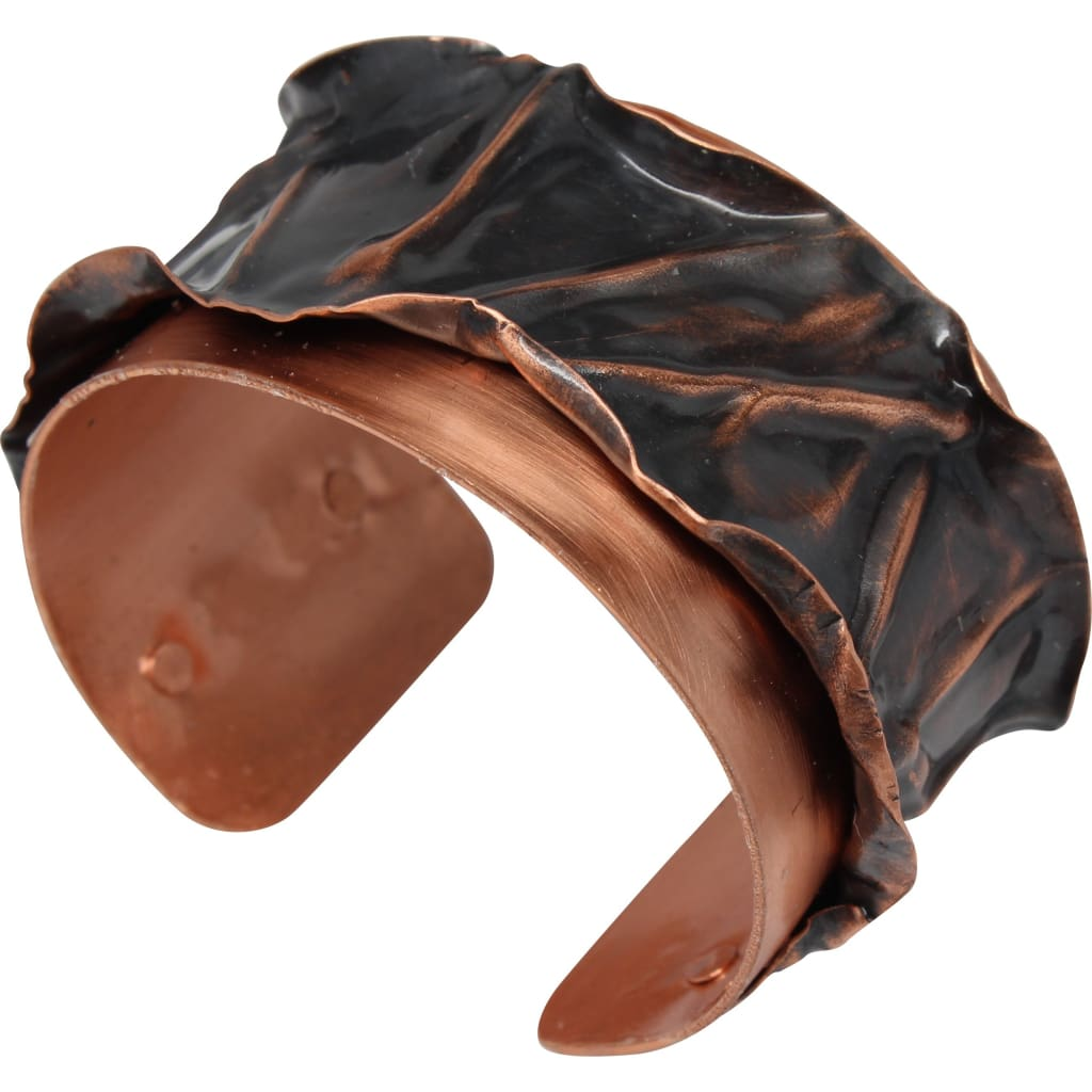 Ruffled Antique Copper Cuff Bracelet Bracelets