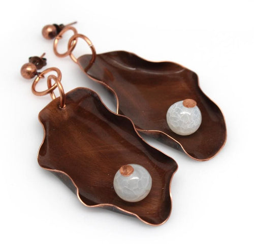 Ruffled Copper And Frosted Agate Dangle Earrings Earrings