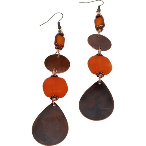 Copper and Mookaite Jasper Dangle Earrings