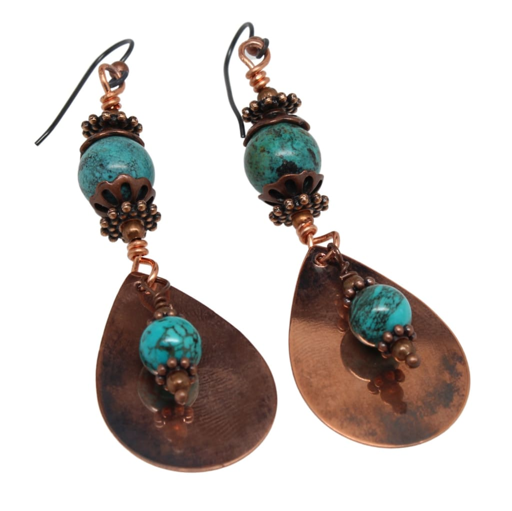 Sassy Turquoise and Copper Dangle Earrings Earrings