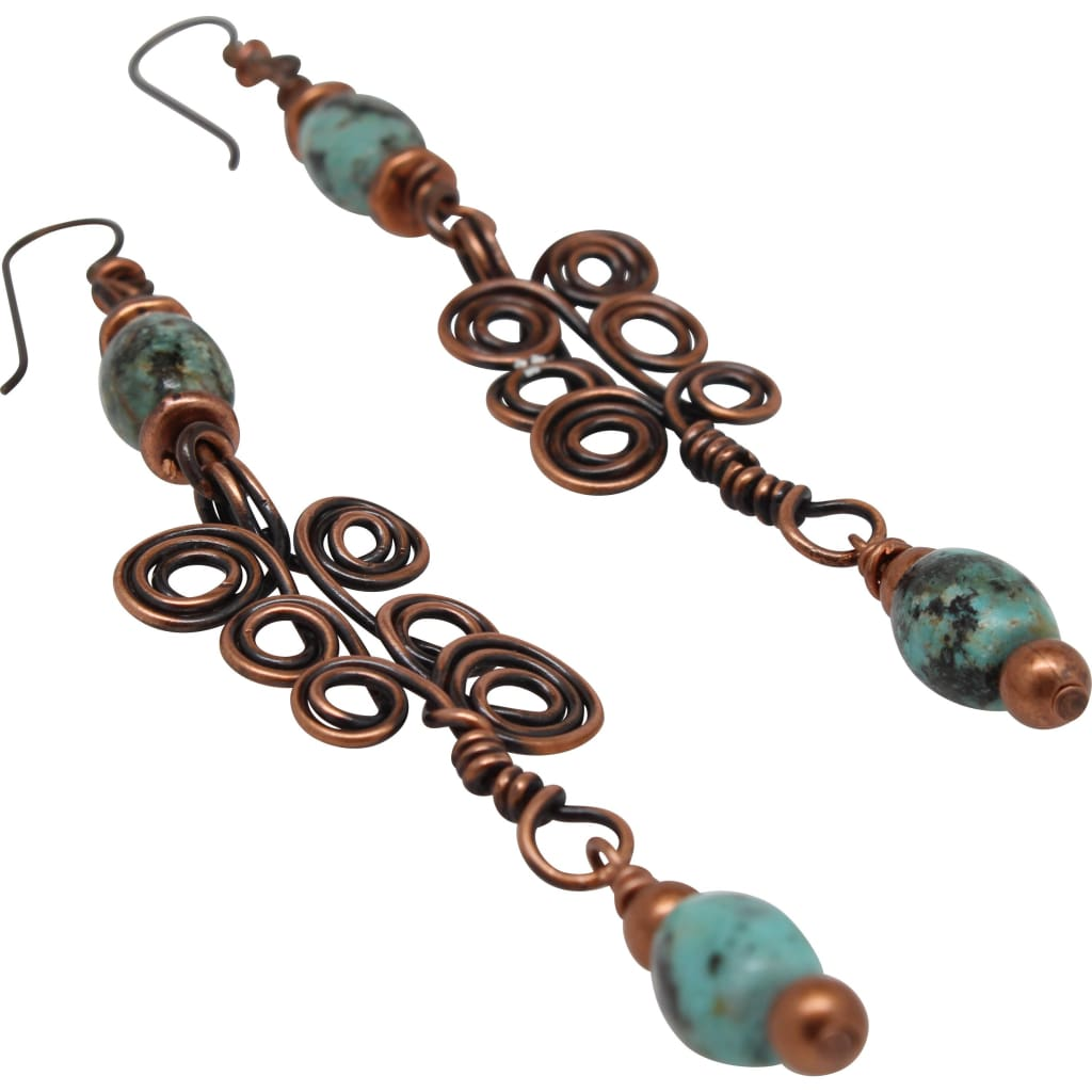 She's So Ladylike Copper and African Turquoise Dangle Earrings Earrings
