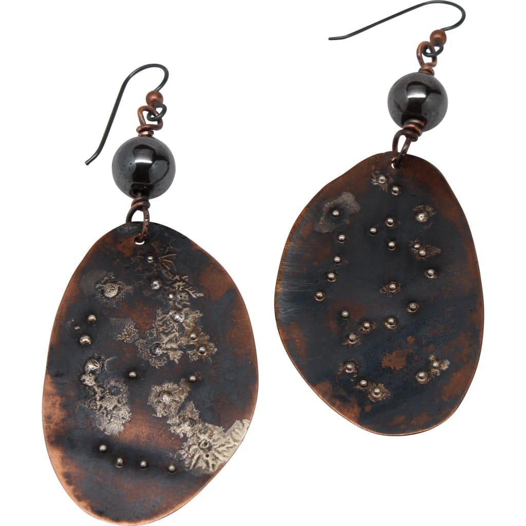 Silver Splatters Copper Dangle Earrings With Hematite Accents Earrings