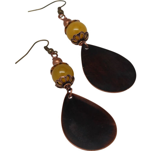 A Goal-Oriented Journey Copper Dangle Earrings - Large