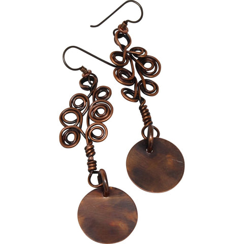 Mixed Metal Copper and Argentium Simple Earrings