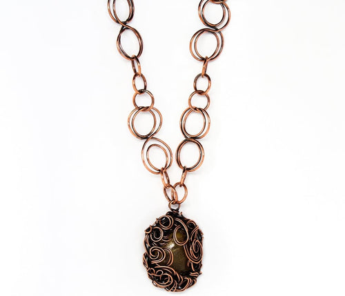 The Golden Amber Lady Copper Pendant Necklace Necklaces