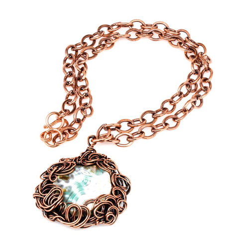 Amber Agate Copper Pendant Necklace