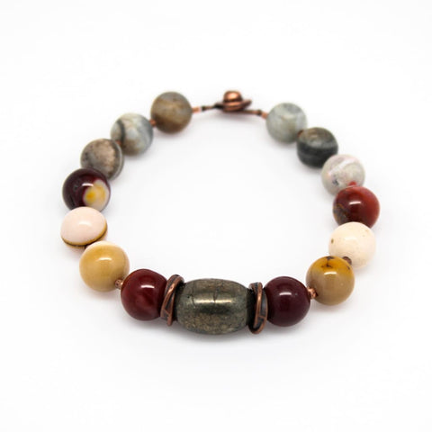 Astrophyllite and Snakeskin Jasper Beaded Semi-Precious Gemstone Bracelet