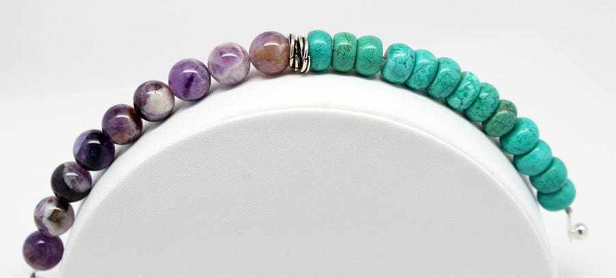 Turquoise And Amethyst Gemstone Beaded Stackable Bracelet Bracelets