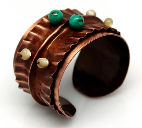 Turquoise And Pearl Beaded Copper Cuff Bracelet Bracelets