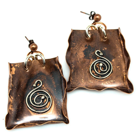 Uncontainable - Copper and Argentium Molded Pendant Statement Necklace