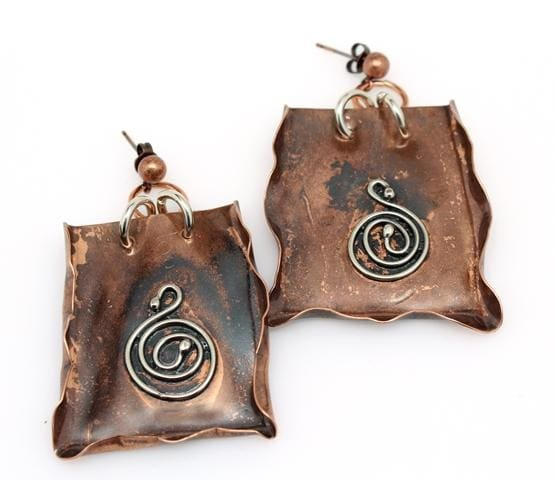 Vintage-Inspired Crinkled Copper And Silver Earrings Earrings