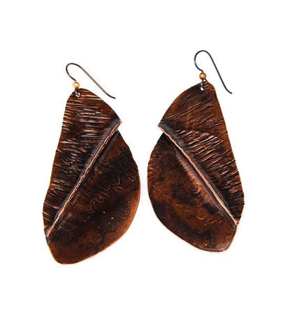 Vintage-Inspired Crinkled Copper and Silver Earrings