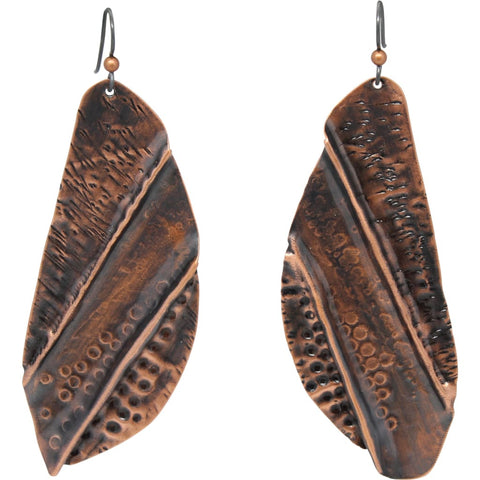 Bohemian Painted Copper Dangle Earrings with African Jade Accents