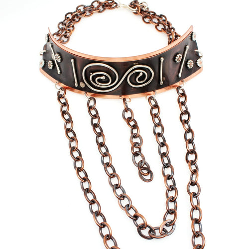 Winter Comes Again Copper And Silver Choker Statement Necklace Necklaces
