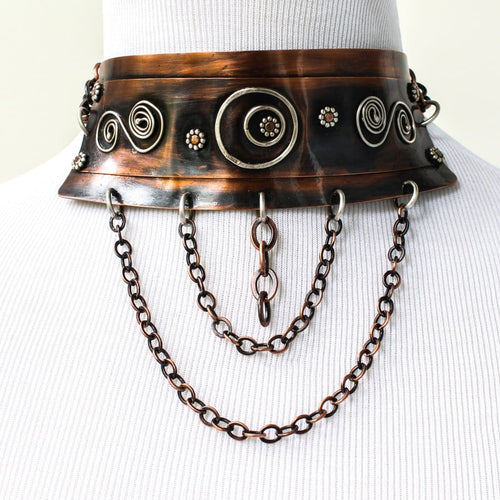 Winter Is Coming Again Copper And Silver Choker Necklace Necklaces