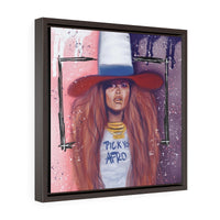 Pick Yo Afro Square Framed Premium Gallery Wrap Canvas