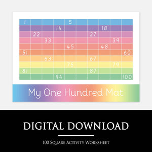 100 SQUARE ACTIVITY WORKSHEET:  Your child will recall their knowledge of the numbers 1-100 in order to fill in the missing gaps on the 100 square Activity Worksheet.