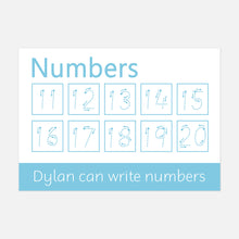 Personalised Numbers 11-20 Learning Mat with Arrows (WIPE CLEAN)