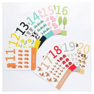 numbers 11-20 flashcards, counting, learning, learning to count, farmyard, numbers