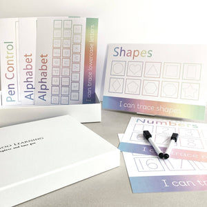 pastel rainbow wipe clean learning mat gift box set. Handwriting practice for toddlers and pre-school children