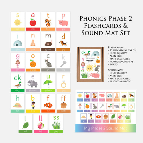 Phonics Phase 2 Sound Mat & Flash Cards by Little Boo Learning