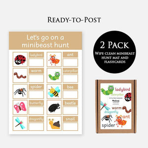 2 Pack Minibeast Hunt Mat (Wipe Clean) & Flashcards  <br /> <br />Colour: Taupe