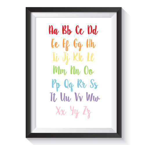 ABC Alphabet print A4 A5 Nursey Rainbow Colourful