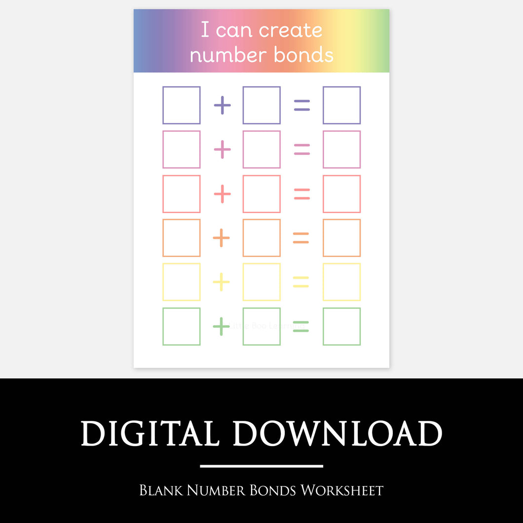BLANK NUMBER BONDS WORKSHEET by Little Boo Learning