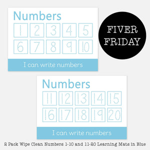 FIVER FRIDAY - 2 Pack Wipe Clean Numbers 1-10 & 11-20 Learning Mats in Blue