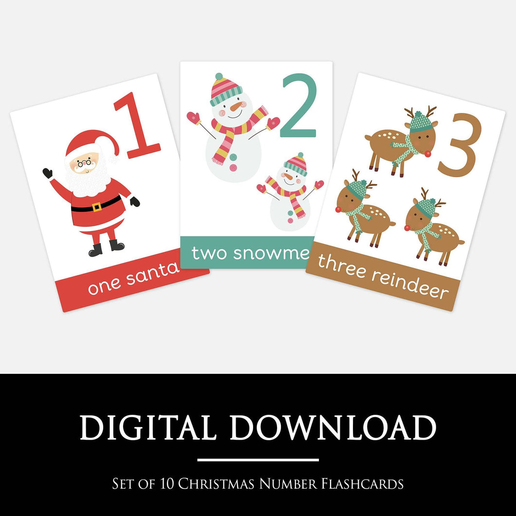 Christmas Number Flashcards | Printable Homeschool Learning Resouces by Little Boo Learning