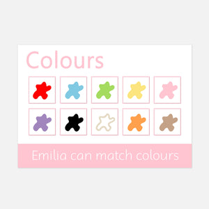 Colours velcro learning mats for children and pre-schoolers. Toddler activities for learning matching activity