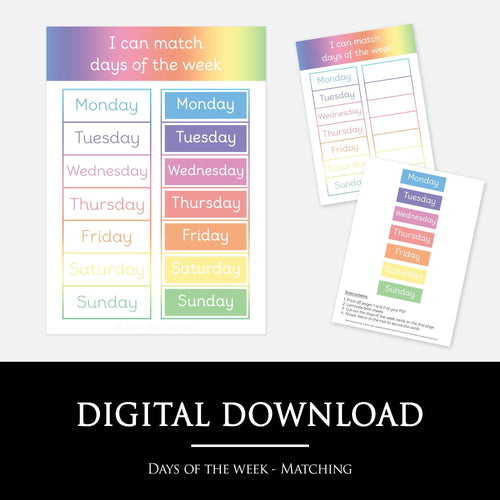 Days of the week matching mat | Printable resources by Little Boo Learning