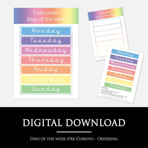 Days of the week ordering mat (Pre-Cursive) | Printable resources by Little Boo Learning
